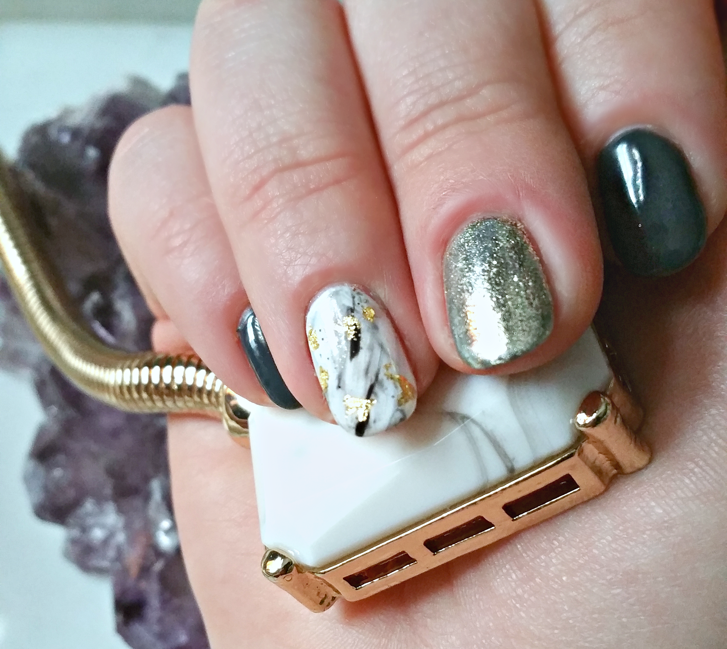 marble and crystal inspired nails