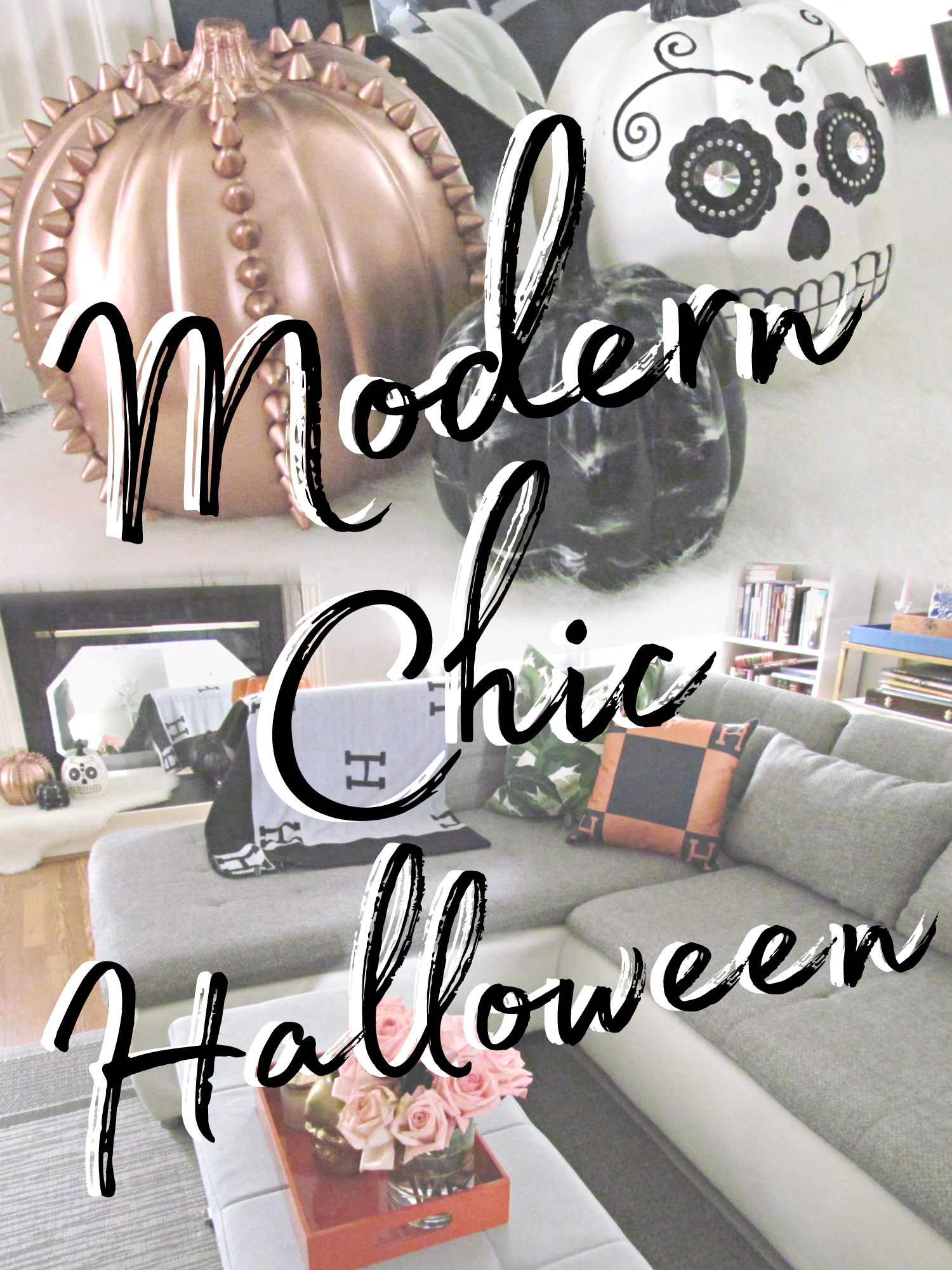 Modern Chic Living Room Halloween Decor